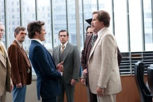 Jack Lime (James Marsden) and Ron Burgundy (Will Ferrell) go toe-to-toe with outrageous hairstyles.