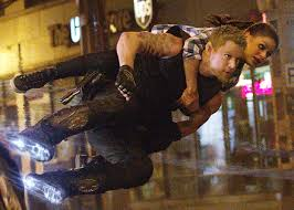 "Yes, that's elf-eared Channing Tatum ""air-skating"" with Jackie on his back."