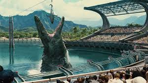 Cage goes in the water, you go in the water. Shark's in the water. Mosasaurus is in the water.